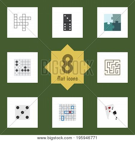 Flat Icon Entertainment Set Of Sea Fight, Labyrinth, Ace And Other Vector Objects