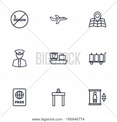 Set Of 9 Airplane Outline Icons Set