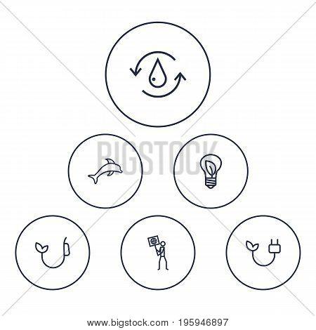 Set Of 6 Bio Outline Icons Set