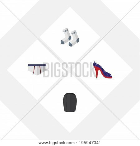Flat Icon Dress Set Of Foot Textile, Stylish Apparel, Heeled Shoe And Other Vector Objects