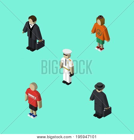 Isometric Person Set Of Detective, Seaman, Lady And Other Vector Objects