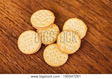 Peanut Butter Crackers on a Wood Table