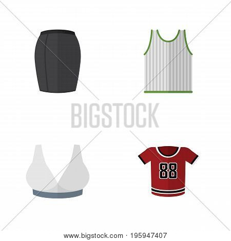Flat Icon Garment Set Of Stylish Apparel, Brasserie, T-Shirt And Other Vector Objects