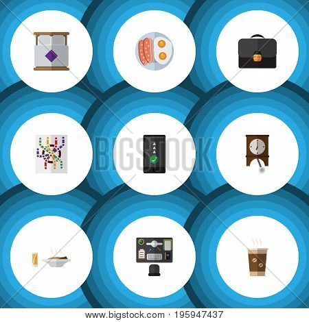 Flat Icon Life Set Of Cappuccino, Briefcase, Lunch And Other Vector Objects