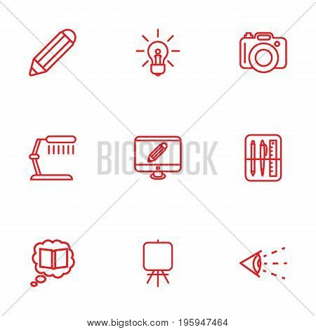 Set Of 9 Creative Outline Icons Set