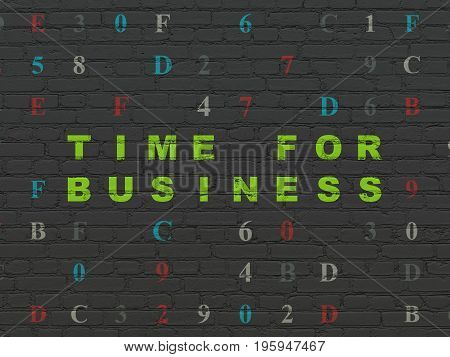 Timeline concept: Painted green text Time for Business on Black Brick wall background with Hexadecimal Code
