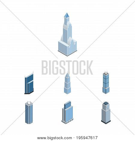 Isometric Construction Set Of Exterior, Urban, Skyscraper And Other Vector Objects