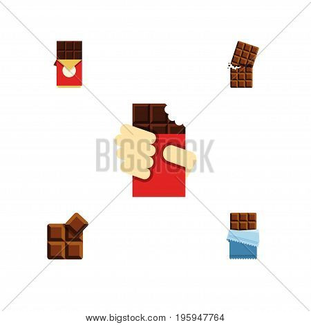 Flat Icon Bitter Set Of Bitter, Chocolate Bar, Shaped Box And Other Vector Objects