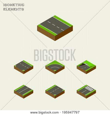 Isometric Road Set Of Subway, Downward, Footer And Other Vector Objects