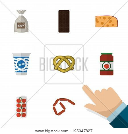 Flat Icon Eating Set Of Bratwurst, Ketchup, Confection And Other Vector Objects