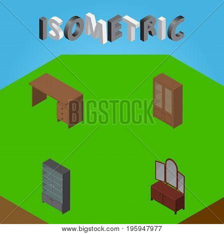 Isometric Furniture Set Of Table, Drawer, Cabinet And Other Vector Objects