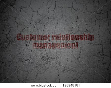 Advertising concept: Red Customer Relationship Management on grunge textured concrete wall background