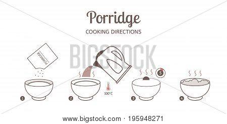 Porridge cooking directions. Steps how to prepare porridge. Vector illustration.