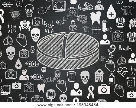 Health concept: Chalk White Pill icon on School board background with  Hand Drawn Medicine Icons, School Board