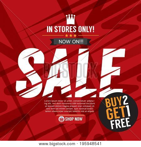 Sale Campaign Buy 2 Get 1 Free Background Banner Vector Illustration. EPS 10