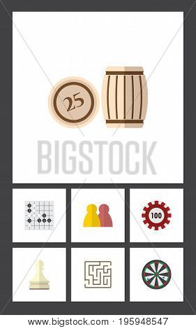 Flat Icon Entertainment Set Of Arrow, Labyrinth, Lottery And Other Vector Objects