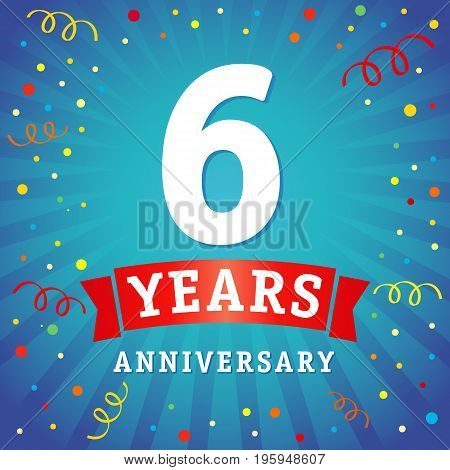 6th years anniversary vector background with red ribbon and colored confetti on blue flash radial lines