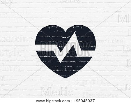 Medicine concept: Painted black Heart icon on White Brick wall background with  Tag Cloud
