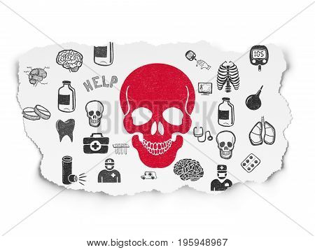 Medicine concept: Painted red Skull icon on Torn Paper background with  Hand Drawn Medicine Icons
