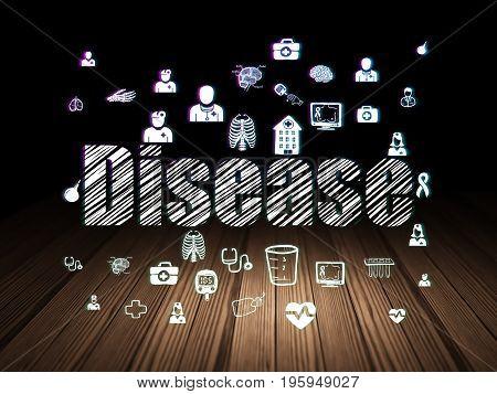 Medicine concept: Glowing text Disease,  Hand Drawn Medicine Icons in grunge dark room with Wooden Floor, black background