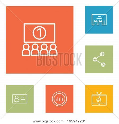 Set Of 6 Advertising Outline Icons Set
