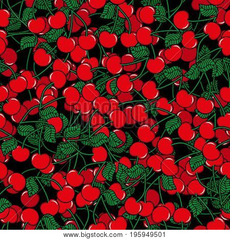 Seamless pattern with cherry black background. Cute vector background. Bright summer fruits illustration. Fruit mix design for fabric and decor.