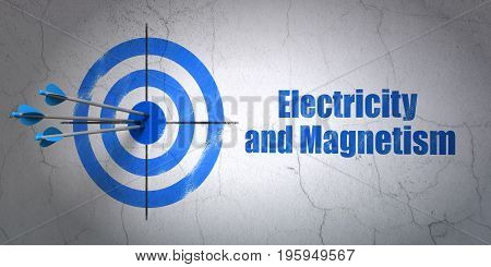 Success Science concept: arrows hitting the center of target, Blue Electricity And Magnetism on wall background, 3D rendering