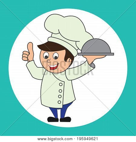 chef man with the toque holding cloche platter ready to serve. cartoon character. vector illustration