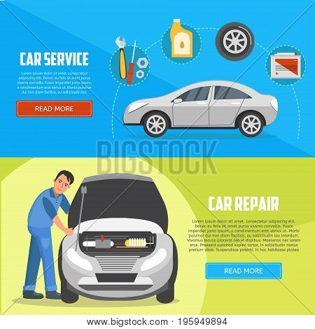 Flat horizontal banners with car mechanic. Car service and car repair vector banners. Auto service business concept illustration.