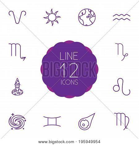 Set Of 12 Horoscope Outline Icons Set