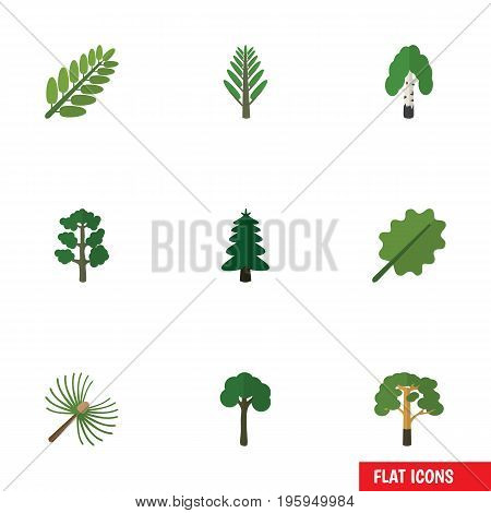 Flat Icon Bio Set Of Forest, Jungle, Alder And Other Vector Objects