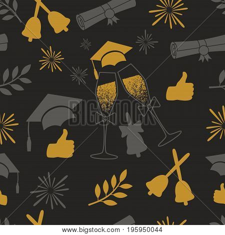 Seamless graduation pattern. Class of background. Vector illustration with grad attributes