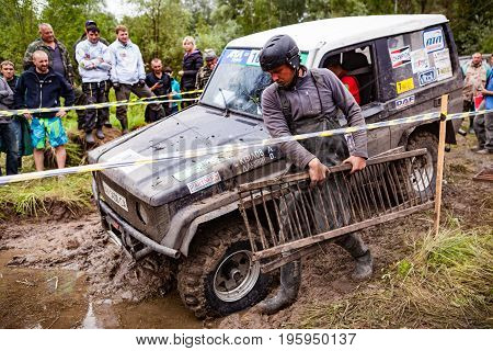 LUBOTIN UKRAINE - JULY 23 2016: RFC Ukraine Wild Boar Challenge 2016. Team on Toyota LandCruiser Prado 70 using sand tracks.
