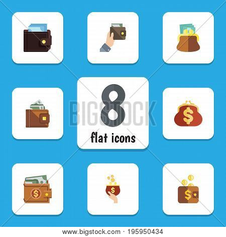 Flat Icon Purse Set Of Saving, Billfold, Money And Other Vector Objects