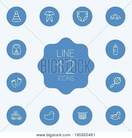 Set Of 12 Baby Outline Icons Set