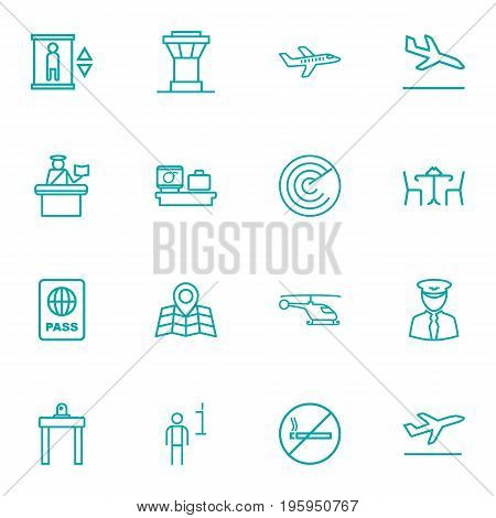 Set Of 16 Airplane Outline Icons Set