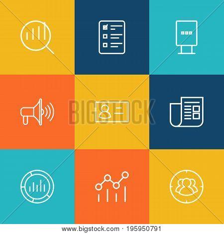 Set Of 9 Trade Outline Icons Set