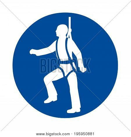 Harness safety sign with a white background