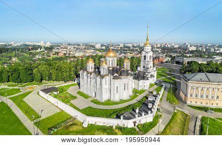 Aerial view of Uspenskiy cathedral in Vladimir Russia