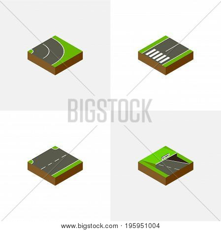 Isometric Road Set Of Asphalt, Underground, Upwards And Other Vector Objects