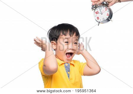 Shocked Pupil With Big Alarm Clock Giving From His Mom.