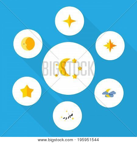 Flat Icon Midnight Set Of Asterisk, Star, Midnight And Other Vector Objects