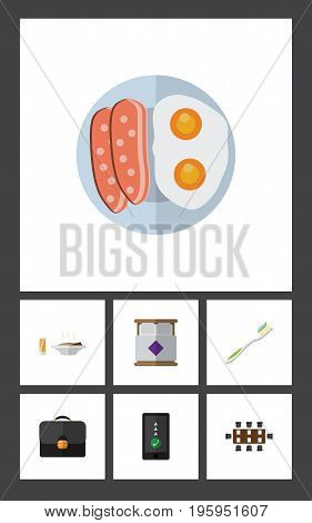 Flat Icon Oneday Set Of Briefcase, Dental, Fried Egg And Other Vector Objects