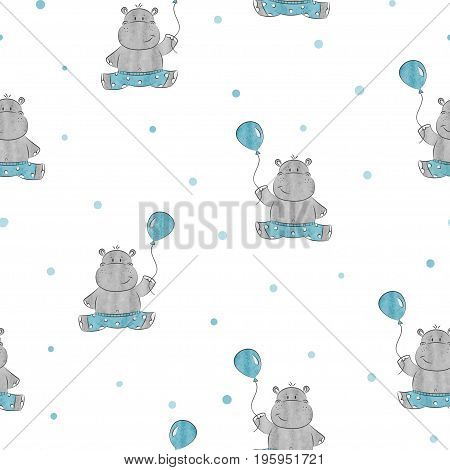 Seamless pattern with cute little Hippo. Vector background for kids design. Baby print.