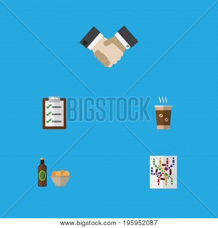 Flat Icon Oneday Set Of Questionnaire, Beer With Chips, Cappuccino And Other Vector Objects
