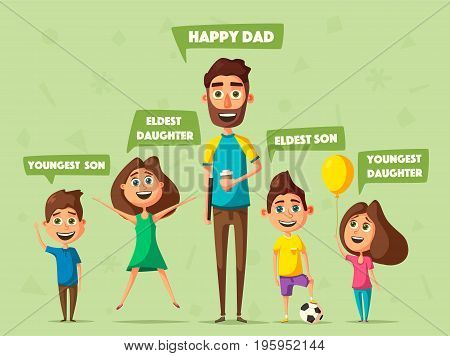 Happy family. Cartoon vector illustration. Father, son and daughter. Little children. Cute characters. Happy together