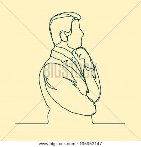 Businessman thinking, linear design, continuous line art, Thoughtful man outline. Vector