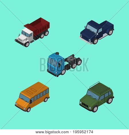 Isometric Automobile Set Of Freight, Autobus, Suv And Other Vector Objects