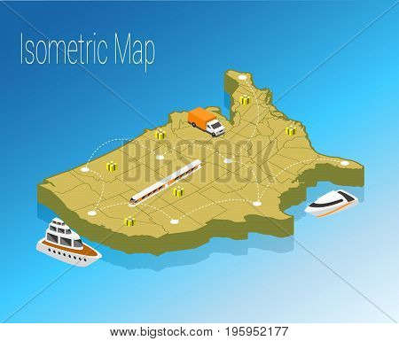 Map America isometric concept. 3d flat illustration of Map America