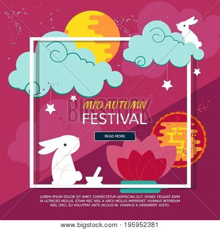 Chinese mid autumn festival design with rabbits full moon and clouds. Abstract paper graphics concep for Mid Autumn festival (Chuseok). Vector creative banner for asian festival celebration.
